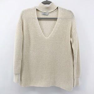 ZARA Knit | Mock Neck Cut Out Cream Sweater | S